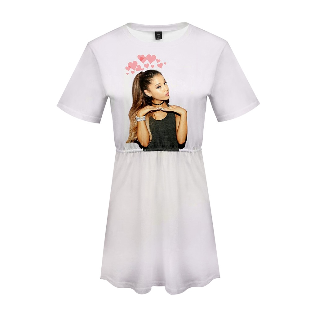 Ariana Grande 3D vestido impreso kpop fiesta vestido gran oferta Casual ropa moda verano vestidos de manga corta