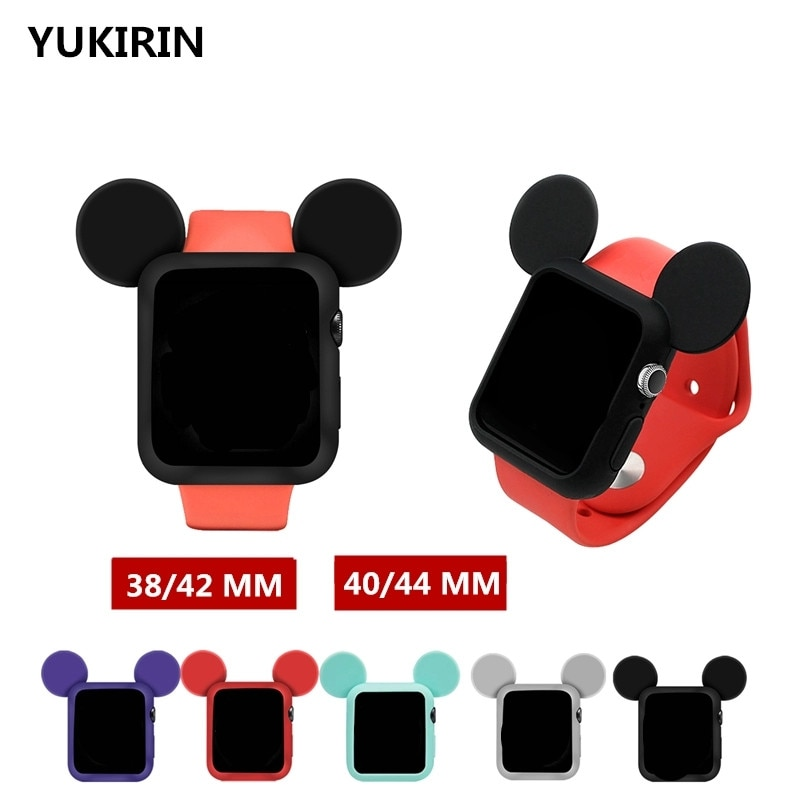 YUKIRIN  Cartoon Mouse Soft Silicone Case For Apple Watch iwatch Rubber Series SE 6 5 4 3 2 1 Cover