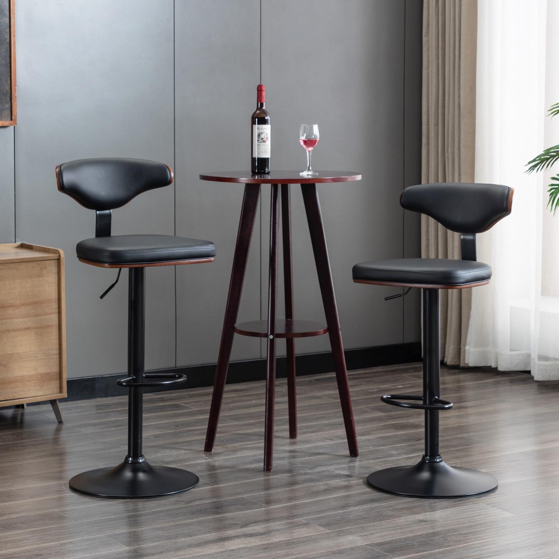 2 قطعة قطب قابل للتعديل بار البراز الجوز بنتوود منجد كرسي للبار الأسود [الولايات المتحدة-الأسهم]