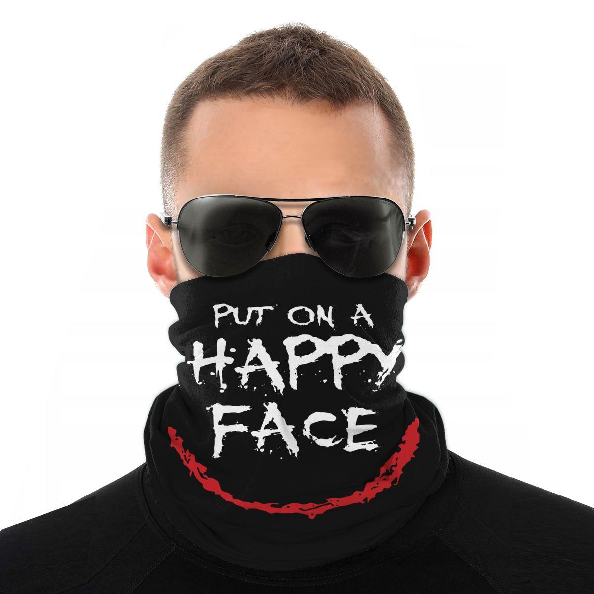 The Joker Put On A HAPPY Face Scarves Half Face Mask Halloween Tube Scarf Seamless Bandana Versatility Headband Outdoor Hiking