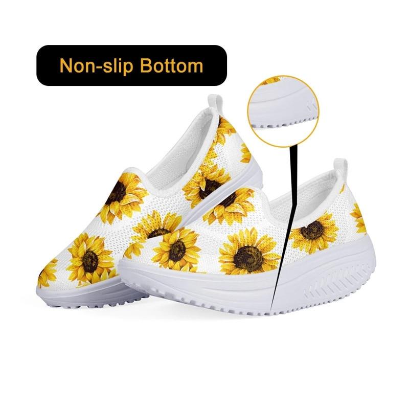 Fashion Woman Shoes Mesh Sneakers Platform Shoes Colorful Cartoon Nurse Printed Breathable Swing Wedges Shoe ZapatosDeMujer