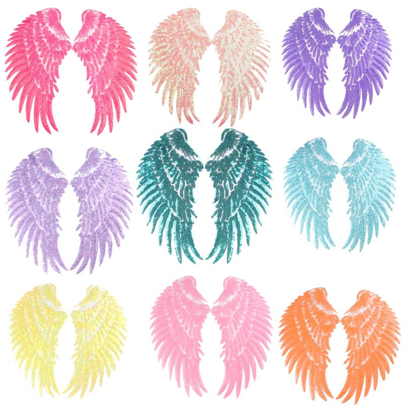 Fashion Large Sequins Wing Patch For Clothing Applique Jeans DIY Accessories Cute Sew On Feather Pat