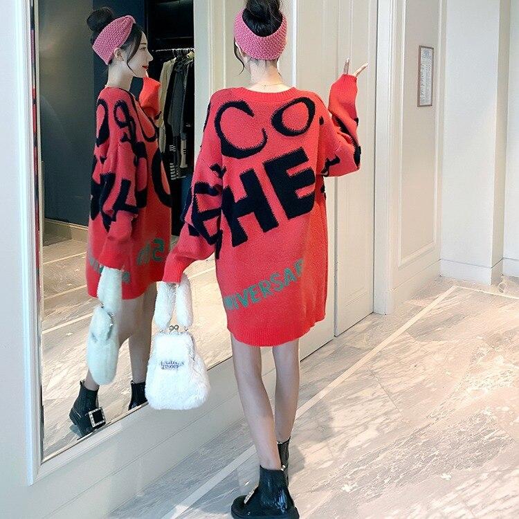 Winter 2020 Fashion Maternity Dress Korean Loose Medium Length Fashion Mom Wool Dress  1661039 enlarge