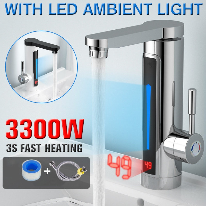 3300W Electric Instant Water Heater Faucet Tap LED Ambient Light Temperature Display Bathroom Kitche
