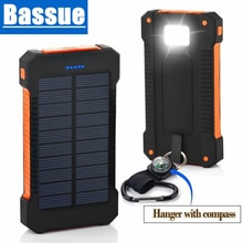 30000mAh Solar Power Bank Waterproof 2 USB Ports External Charger Powerbank For Xiaomi Smartphone wi