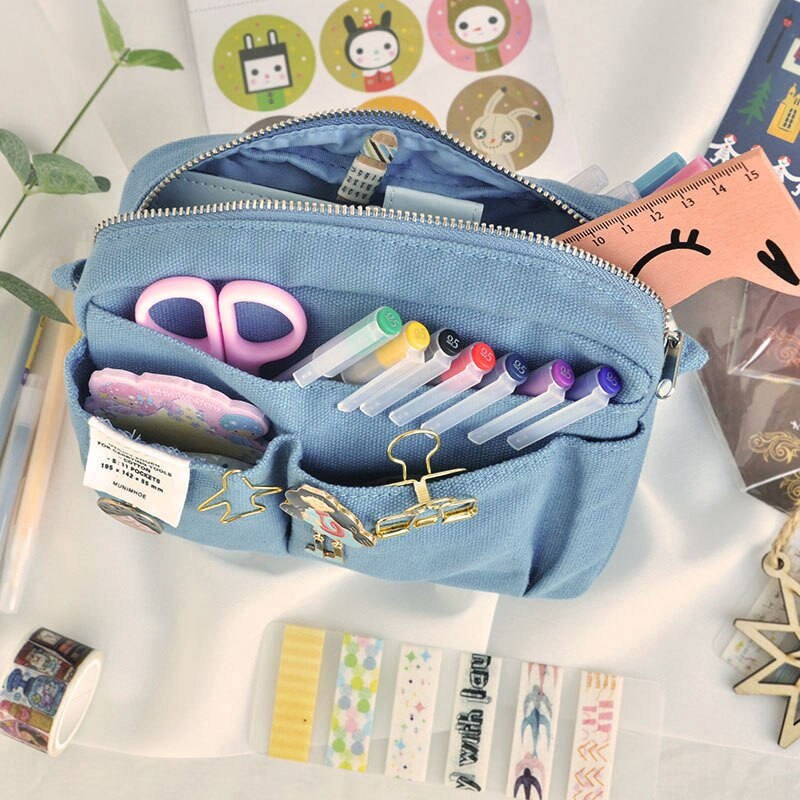 2021 INS Fashion Make Up Style Big Zipper Pencil Bag Yellow Blue Black Cool Stationery Gift Pencil Pounch Gift Free Shipping