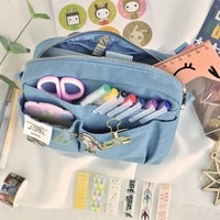 2022 ins fashion make up style big zipper pencil bag yellow blue black cool stationery gift pencil pounch gift free shipping