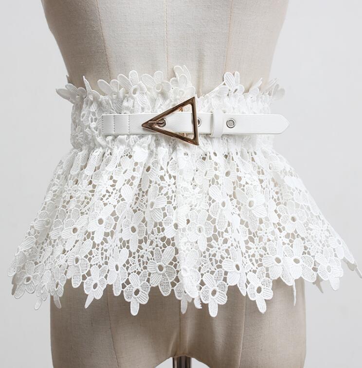 Moda de pasarela para mujer, faja elástica de encaje blanco y negro, corsés de vestido para mujer, cinturones de decoración, cinturón ancho R467