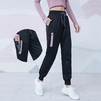 women quick dry athletic gym fitness sweatpants fabric drawstring running sport joggers with two side pockets exercise pants