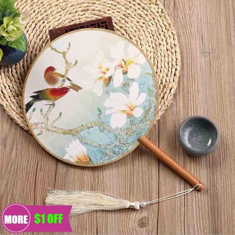 Китайский ручной фанат Hanfu, женский китайский старинный круглый деревянный ручной фанат с принтом, китайский халат Hanfu, подарок для женщин