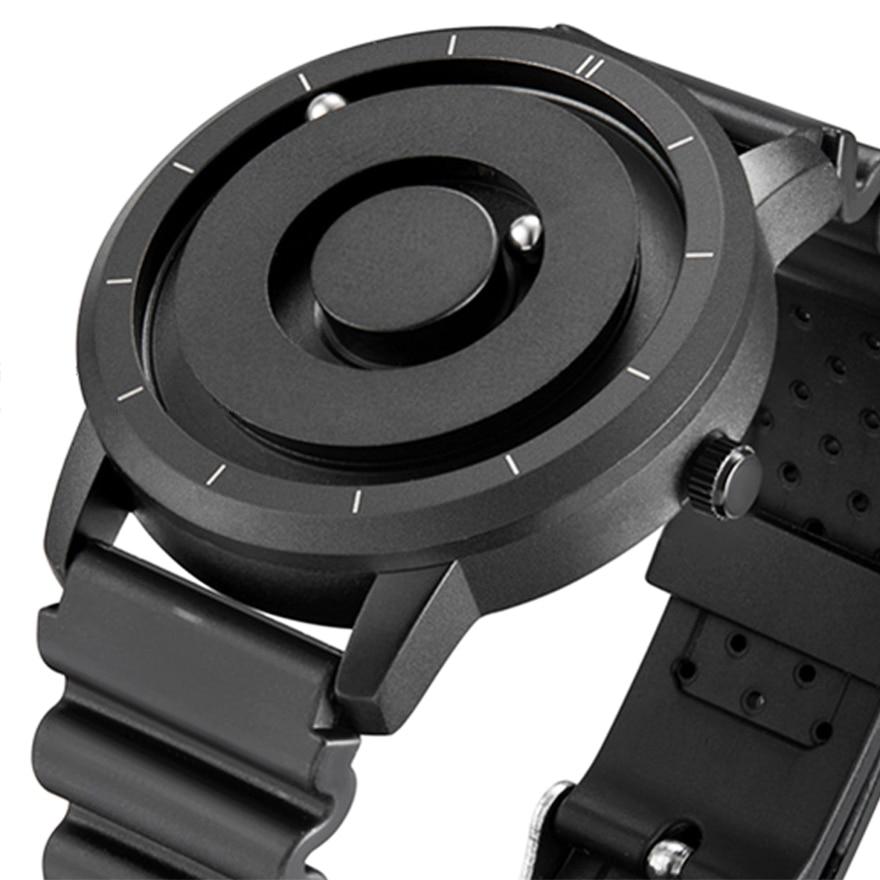 EUTOUR Creative שעון עלה זהב שחור רסיס מגנטי כדור מתכת רב לאומי שעון גברים של אופנה גומי ספורט זכר שעון