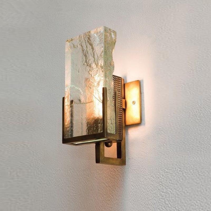 Arte de lujo nórdico, lámpara de pared de cristal de hielo, lámpara minimalista de comedor, aplique de pared led para dormitorio, cabecera de villa