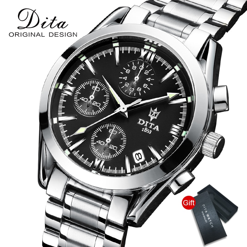 DITAWATCH New Fashion Mens Watches with Stainless Steel Top Brand Luxury Sports Chronograph Quartz W