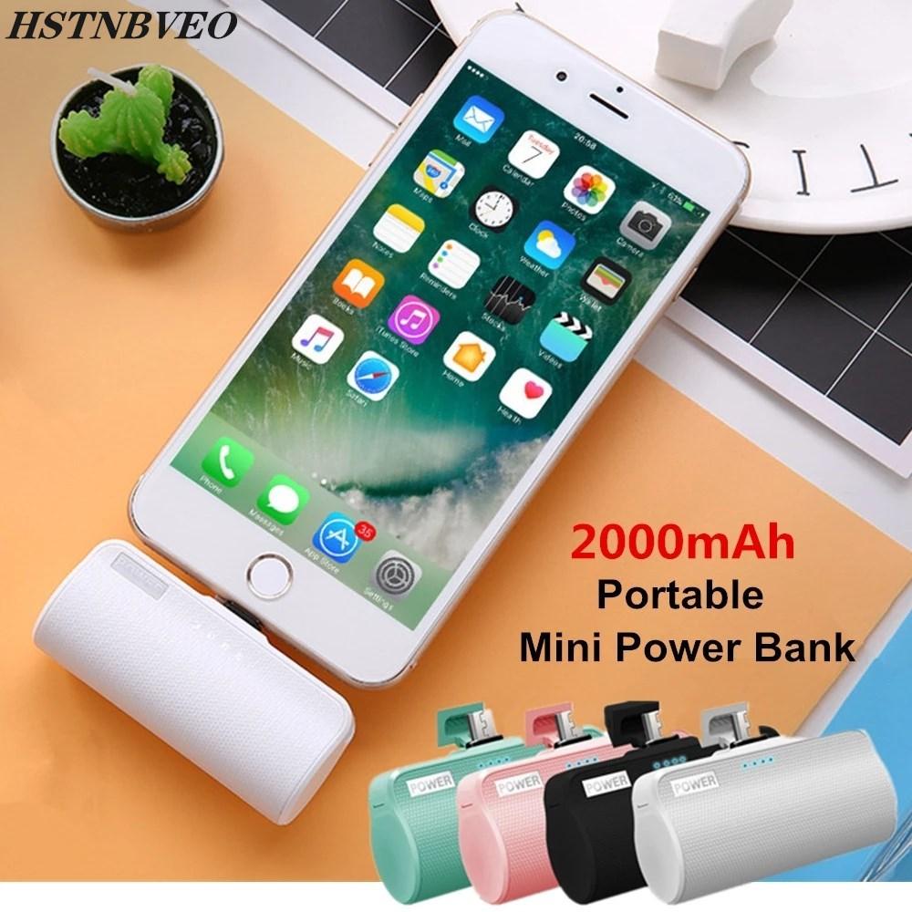 2000mAh For Xiaomi Redmi LG Mini Power Bank Pack External Battery Charging Case For iPhone Samsung Portable Mini Cute Powerbank