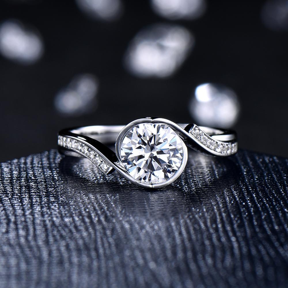 Anillo de compromiso con acentos LASAMERO molissanites de 6,5 MM de corte redondo, anillo de compromiso sólido de 14K de oro, anillo de media eternidad