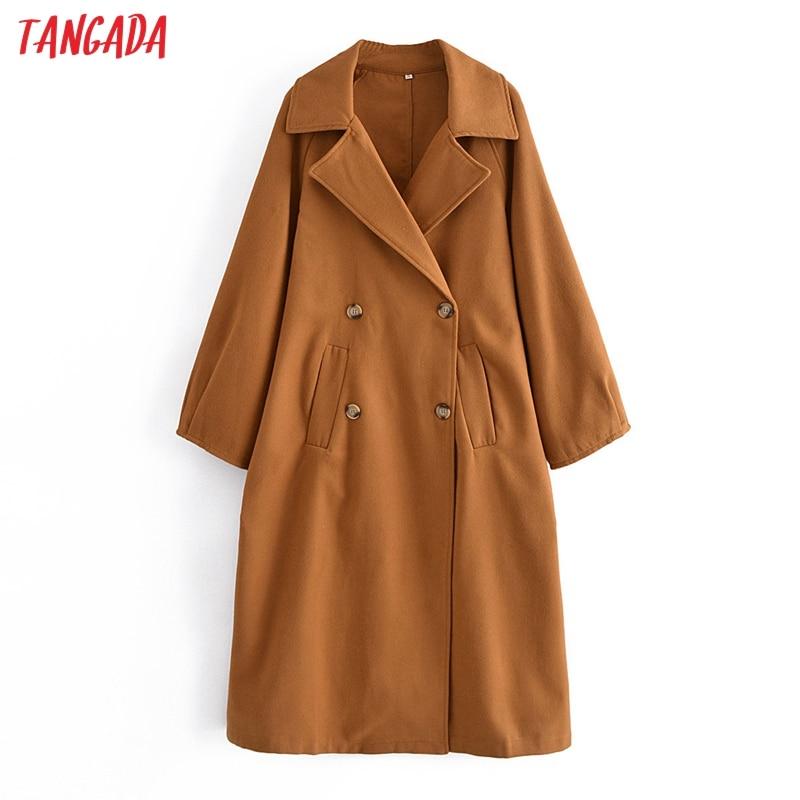 Tangada النساء سميكة مزدوجة الصدر معاطف طويلة سترة طويلة الأكمام 2021 السيدات أنيقة الخريف الشتاء معطف 3W88