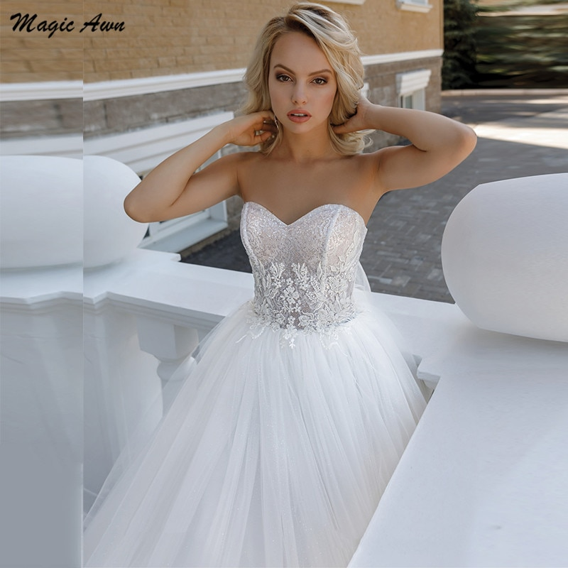 Magic Awn Boho Sweetheart Wedding Dresses Lace Appliques Illusion Beach A-Line Wedding Party Gowns Lace Up Back Robe Mariee недорого