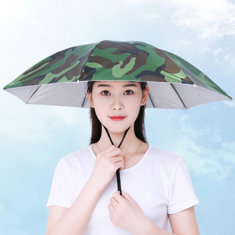 New Rain Umbrella Hat For Fishing Hat Foldable Outdoor Pesca Sun Shade Waterproof Camping Fishing Headwear Cap Beach Head Hats