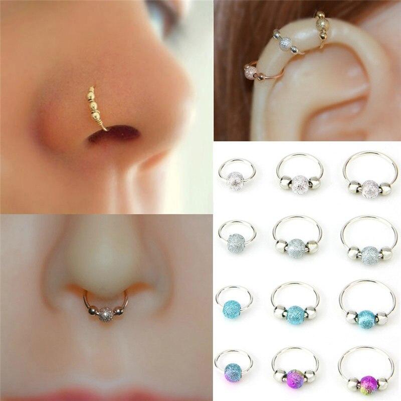 1 pçs pequenos cristais de strass finos grânulo falso septo piercing nariz anéis & studs falso clip nariz hoop corpo jóias