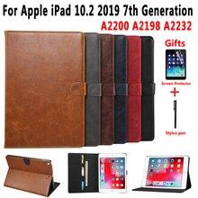 Custodia In Pelle Premium per Apple iPad 10.2 2019 7 7th Generation A2197 A2200 A2198 A2232 Caso Astuto della Copertura per iPad 10.2 + Film + Pen