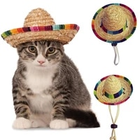 fashion pet woven straw hat for cat sun hat sombrero for small dogs and cats beach party straw costume accessories to act cute