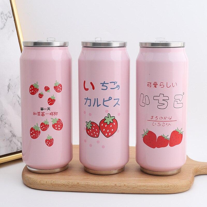 الإبداعية النسخة الكورية من الوردي الفراولة الترمس فتاة طالب الأطفال لطيف المحمولة يمكن زجاجة ماء كوب