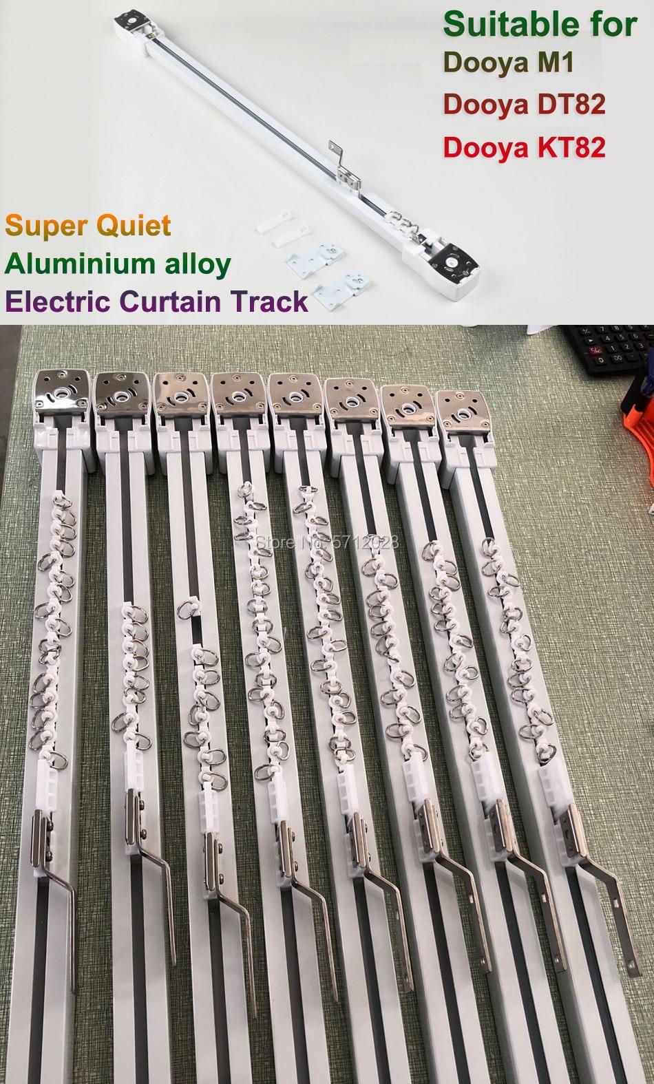 Pista de cortina eléctrica de aleación de aluminio súper silenciosa para Dooya motor M1/KT82TN/DT82 serie motor, sistema de riel de cortina para casa inteligente