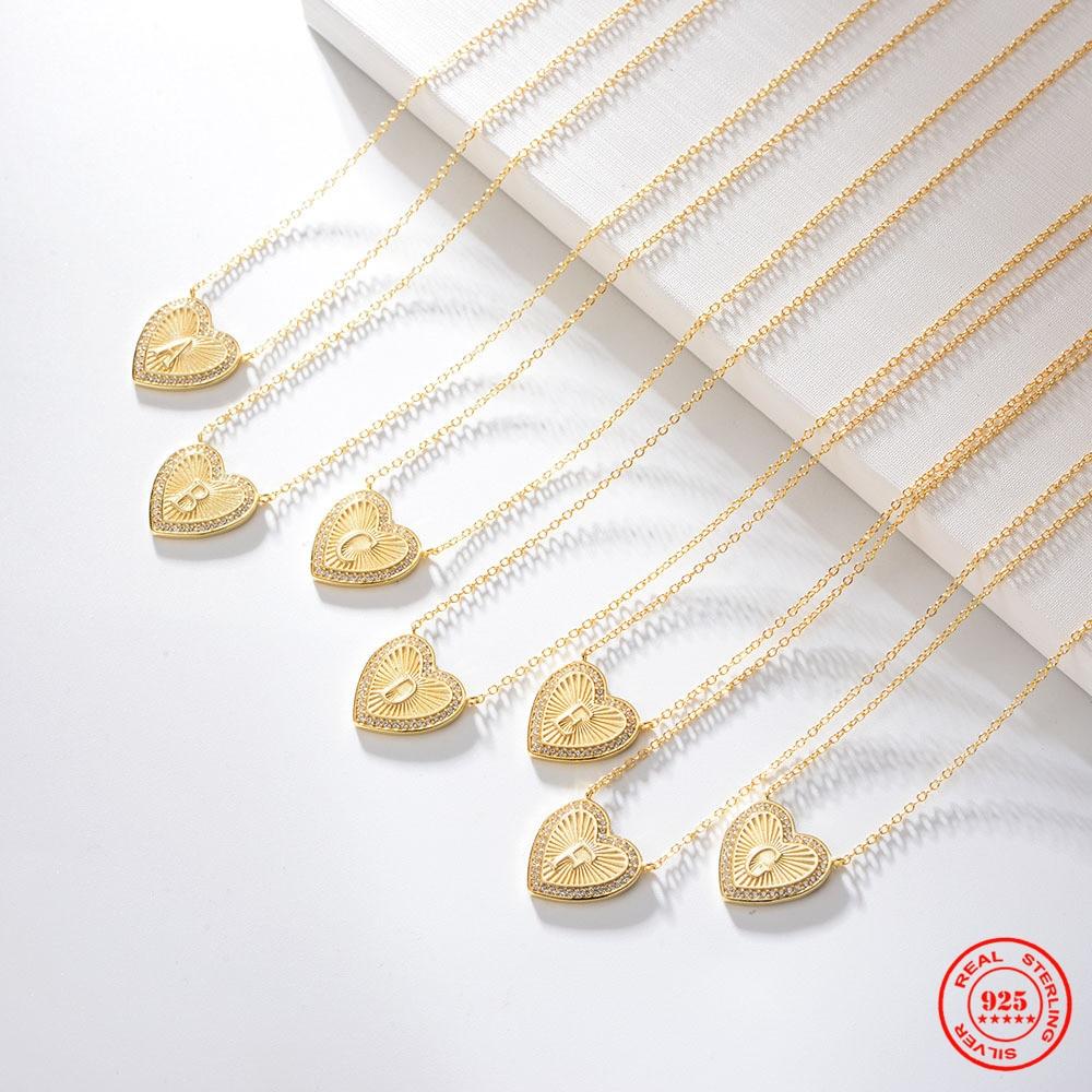 Yizizai 925 prata esterlina coração de ouro 26 letras pingente inicial h alfabeto colar zircão feminino acessórios jóias presente do amor