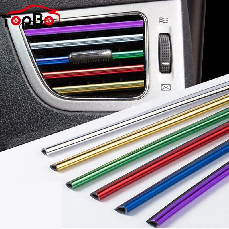 10 Pcs Universal Car Air Conditioner Outlet Decorative Mouldings Vent Trim Strip Decor Styling Chrome Accessories