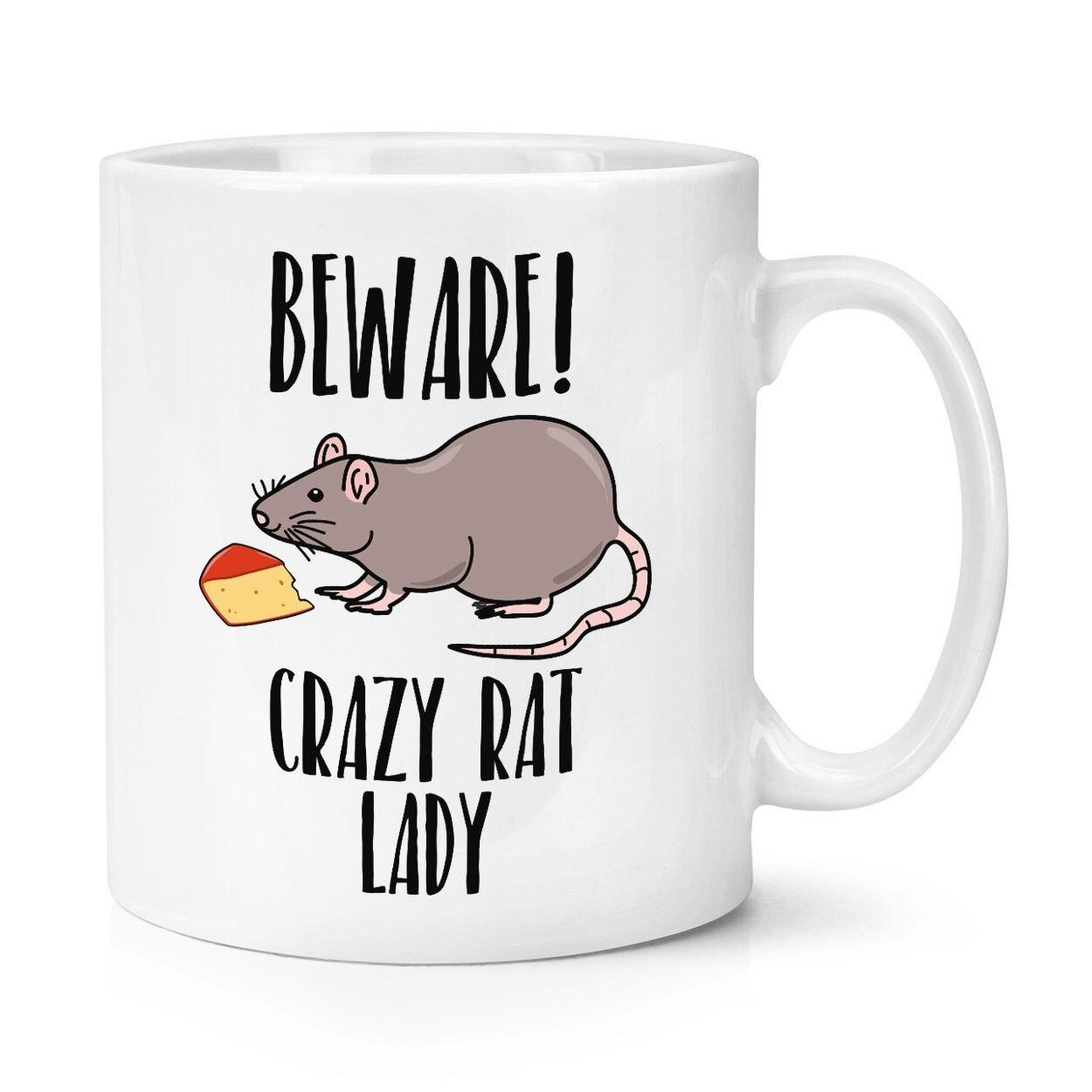 Cuidado con una rata dama 10oz taza divertido cerámica taza de café