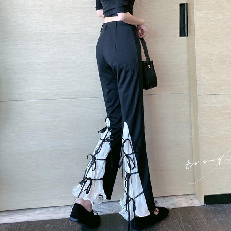 ZOSOL 2020 New Style Design Sense Bell-bottom Pants Chiffon Stitching Strap High Waist Casual Pants All-match Trousers for Women недорого