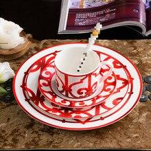 Un décor européen céramique moderne assiettes alimentaires occidentales os porcelaine Steak ornements vaisselle décorations tasses plateau à Dessert