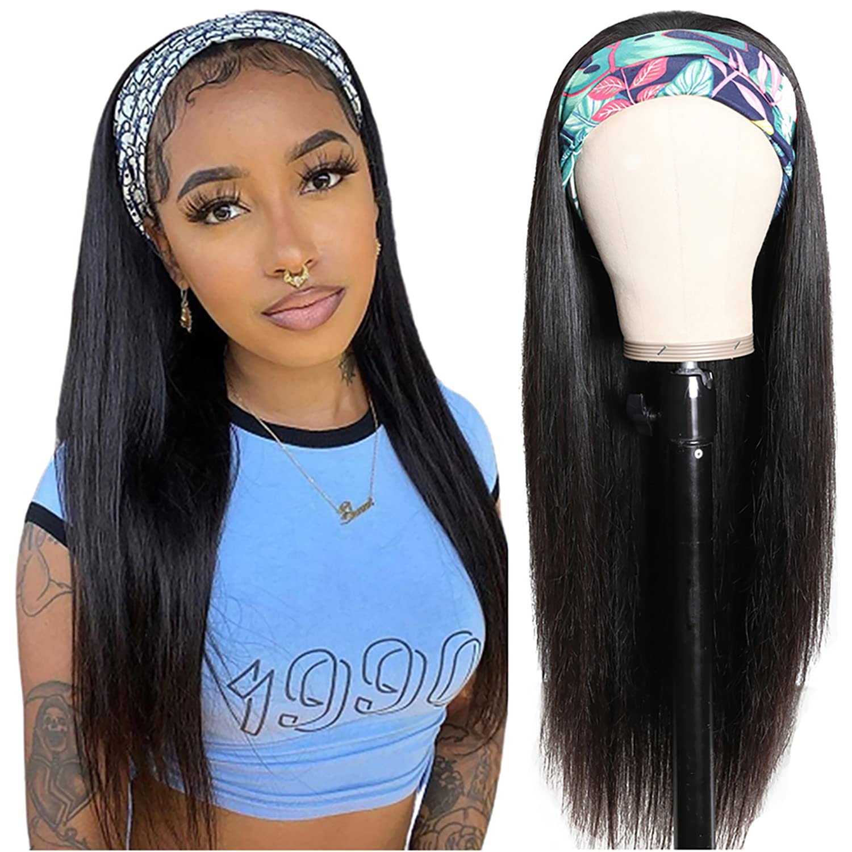 150 Density Headband Wig Straight Human Hair Wigs 30 Inch Glueless Brazilian Hair Wigs Remy Human Hair Wigs With Headband Scarf