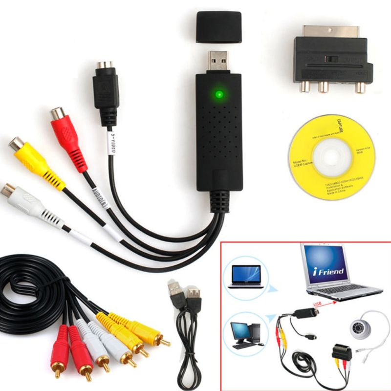 1Set USB2.0 VHS to DVD Converter Au-dio Video Capture Device Kit for Windows 10 32CA