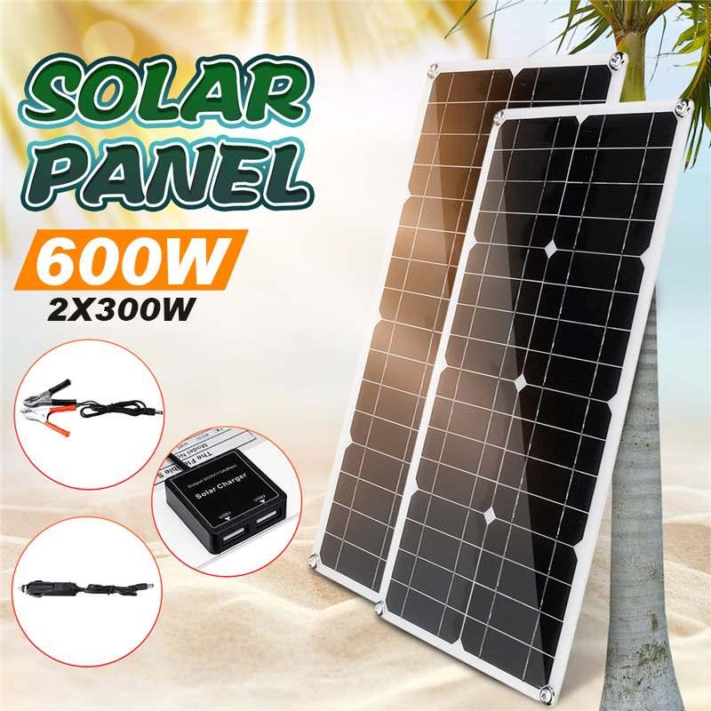 600 واط 18 فولت لوحة طاقة شمسية الطاقة خلية شاحن لوحة طاقة شمسية عدة كاملة ل سيارة مخيمات قارب خزان طاقة للهواتف الذكية للسيارة يخت RV