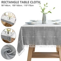rectangle plaid tablecloth protective dust cover cotton wedding protector tassel tablecloth wear resistant decorative tablecloth