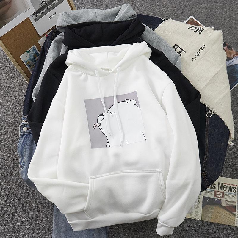 Hoodies oversized print Kangaroo Pocket Sweatshirts Hooded Harajuku winter Casual Vintage Korean Pul