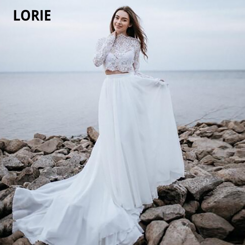 Review LORIE Beach Wedding Dresses Two Piece Lace A-Line Elegant Wedding Gown Chiffon Long Sleeve Country Bridal Dress  vestido novia