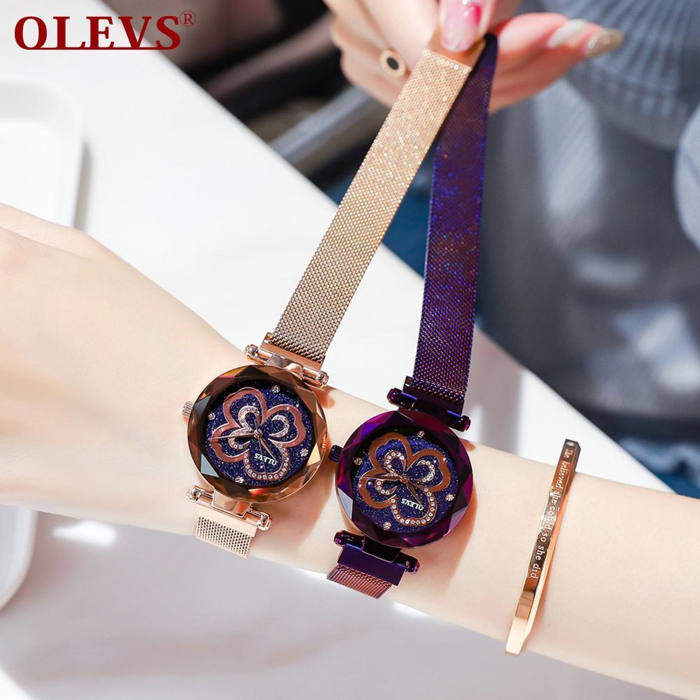 Reloj OLEVS para mujer, pulsera de cielo estrellado, a prueba de agua, hebilla magnética, marca superior, reloj de pulsera de diamantes de imitación, relojes de lujo para niñas