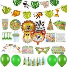 Ballons en papier aluminium animaux Jungle   Fournitures de fête, vaisselle jetable, feuilles de palmier pour mariage danniversaire, décoration de fête à thème hawaïen