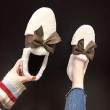 Fashion Autumn And Winter Short Plush women shoes Peas Shoes Female Wild Hair Ball Bow Lazy Warm Cotton Shoes Women U16-27