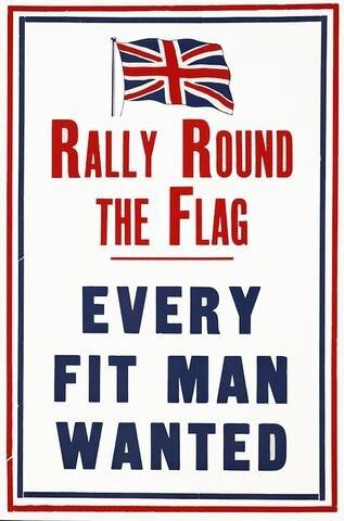 Bandera redonda de Rally Reino Unido Union Jack WWI WW1 Propaganda Retro Vintage de póster lienzo DIY pegatinas de pared pósteres casa Decoración Para bar