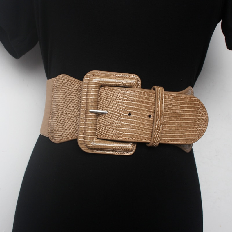 Women Wide Waist sealing Cover Decoration Belt Elastic Fashionable And All round Khaki Winter Black