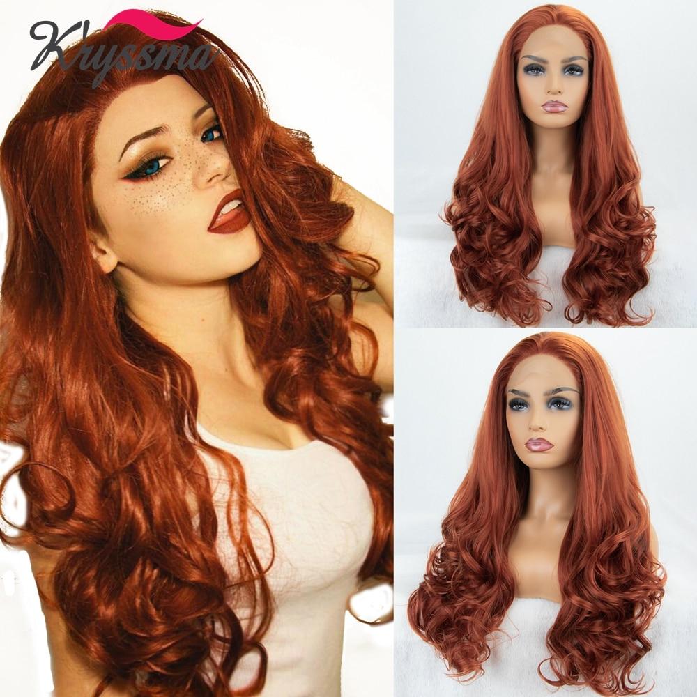 شعر مستعار أمامي من الدانتيل الصناعي للنساء ، شعر طويل مموج ، مصنوع من الألياف ذات درجة حرارة عالية ، للهالوين ، أحمر وبرتقالي