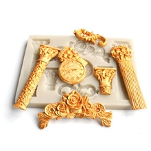 Römischen säule uhr form silikon form DIY fondant, ton, gips, harz form ornament zubehör, backen utensilien