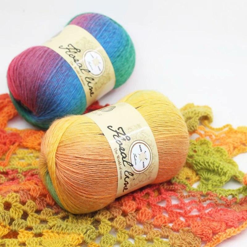 Hilo de lana de arco iris teñido, Sección de 100g, gradiente de...