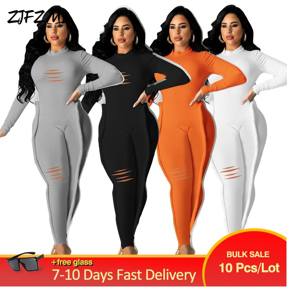 Bulk Wholesale Items Lots Elastic Hight Bandage Rompers Womens Jumpsuit Elegant Hole Full Sleeve Crimping One Piece Overall Y2K