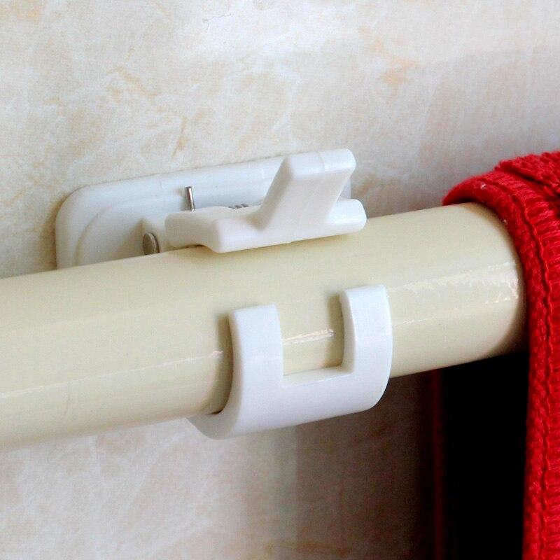 Самоклеящиеся карнизы для штор, 1 комплект, белая подвеска, зажимы для штор, настенные крючки, органайзер, стойка для домашнего хранения