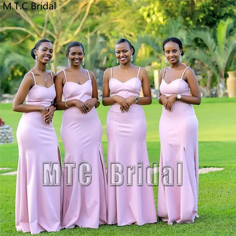 Light Pink Mermaid Long African Bridesmaid Dresses With Slit Strapless Corset Back Sexy Maid Of Honor Wedding Party Gowns Cheap