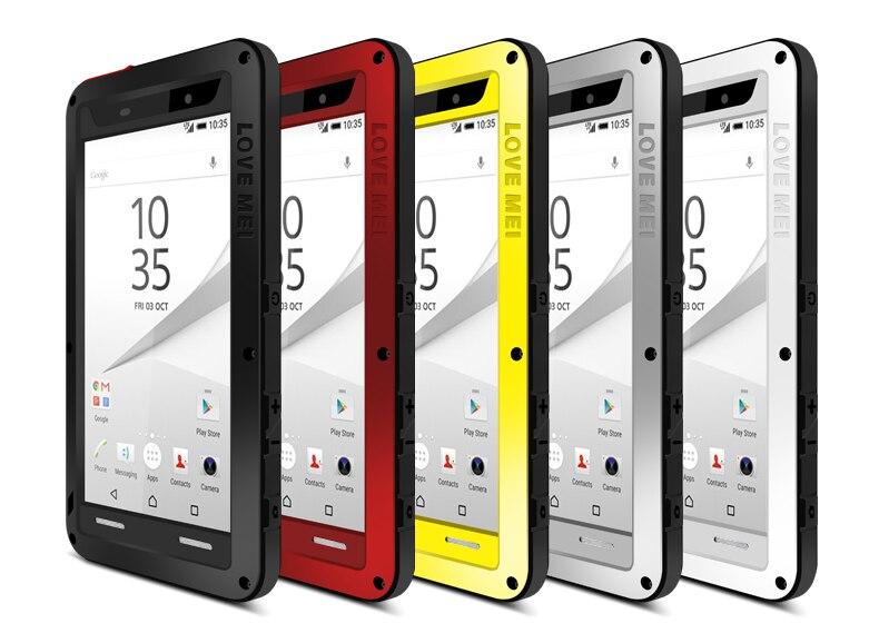 LIEBE MEI Leistungsstarke Wasser/Schmutz/Stoßfest Metall Rüstung Fall Für Sony Xperia Z5/Z5 Premium/ z5 Compact/Z5 +/Z5 Mini Telefon Abdeckung